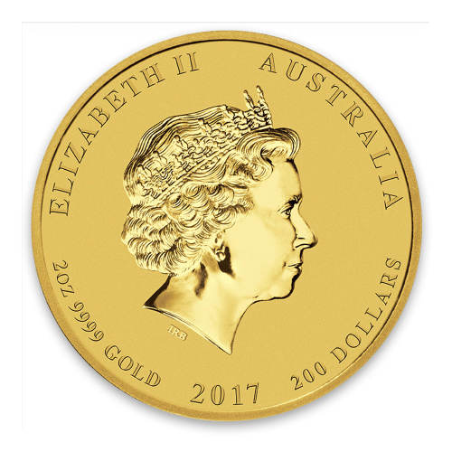 2017 2oz Australian Perth Mint Gold Lunar II: Year of the Rooster