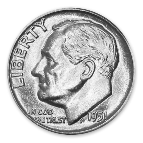 Roosevelt Dime (1946 to 1964) - MS+