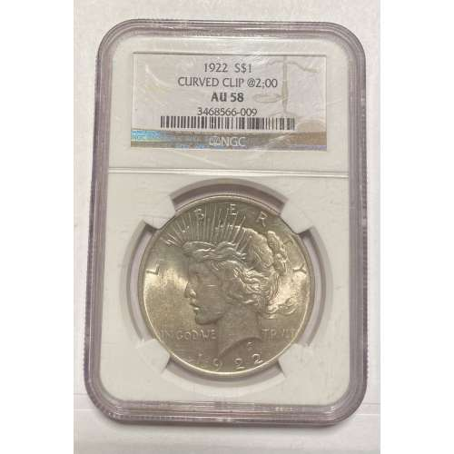 1922-p CURVED CLIP @2;00 1922 NGC AU-58