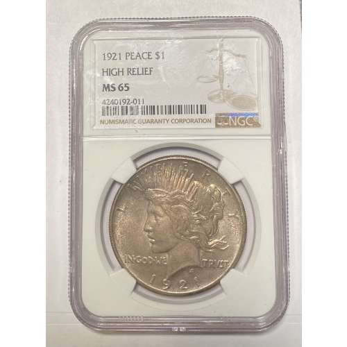 1921 HIGH RELIEF  NGC MS-65