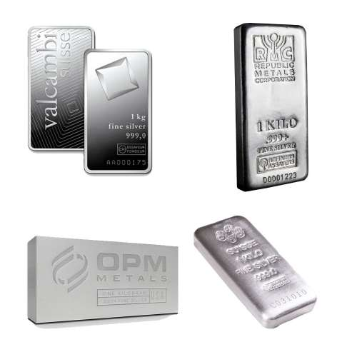 LBMA Approved 1kg silver bar - Various Mints