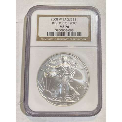 2008 BURNISHED SILVER EAGLE REVERSE OF 2007 W NGC MS-70