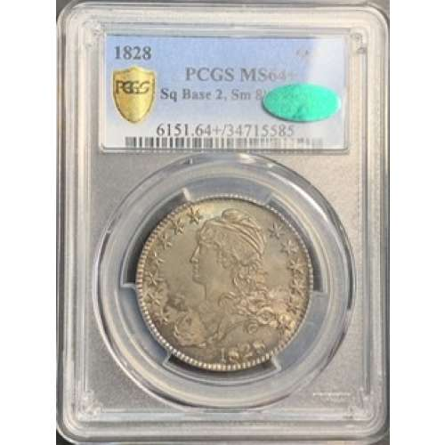 1828 Square 2, Small 8, Large Letters  PCGS MS-64+
