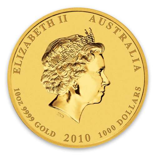 2010 10oz Australian Perth Mint Gold Lunar II: Year of the Tiger