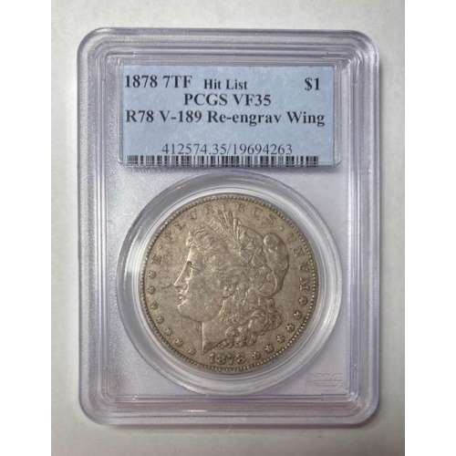 1878 7TF, Reverse of 1878  R78 V-189 Re-engraved Wing  PCGS VF-35